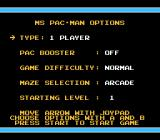 Ms. Pac-Man NES Options screen (Tengen version)