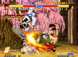Real Bout Fatal Fury 2: The Newcomers Neo Geo When Kim does a Breakshot with his Flying Swallow Slash, Mai's Dragon Flame Dance is fully annulled.