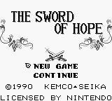 The Sword of Hope Game Boy Title Screen