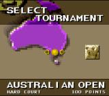 Jimmy Connors Pro Tennis Tour SNES Selecting a tournament