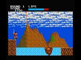 Rastan MSX Use the rope to cross the water