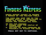 Finders Keepers MSX Title screen