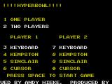 Hyperbowl ZX Spectrum Selecting 2 players activates the 2nd player's control menu