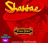 Shantae Game Boy Color Title screen (in Game Boy Advance).