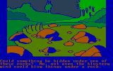 Winnie the Pooh in the Hundred Acre Wood DOS Could something be under these rocks? (CGA with RGB monitor)