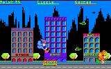 Rampage Amstrad CPC Ralph hanging onto the left side of the bank
