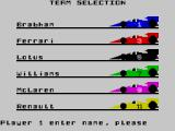 Formula One ZX Spectrum Choose a team