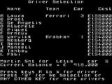 Formula One ZX Spectrum The drivers are all open-market at the start