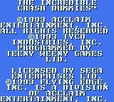 The Incredible Crash Dummies Game Gear Startup screen