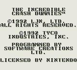 The Incredible Crash Dummies Game Boy Startup screen