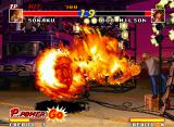 Real Bout Fatal Fury Neo Geo Burning moves again: amid a filming in Southtown Bridge, Sokaku connects a Hametsu no Honou in Bob.