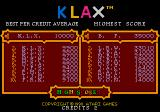 Klax TurboGrafx-16 High score list