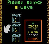 Klax Game Gear Wave selection screen