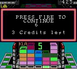 Klax Game Gear Game over!