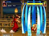 Real Bout Fatal Fury Neo Geo Geese does a super barrier with the super move Raging Storm to protect of Hon Fu's Bakuhatsu Goro.