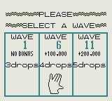 Klax Game Boy Wave selection screen (Japanese version)