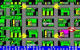 Ghostbusters Amstrad CPC Buildings colored purple indicate the ghost's next target