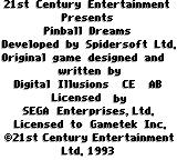 Pinball Dreams Game Gear Credits splash screen