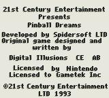Pinball Dreams Game Boy Credits splash screen