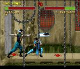 Mortal Kombat II SNES Escaping successfully of Kung Lao's Hat Throw using his Slide, Sub-Zero changes the fight situation.