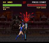 Mortal Kombat II SNES The result of Kitana's Fan Slice Fatality? Liters of blood gushing of a decapitated Sub-Zero...