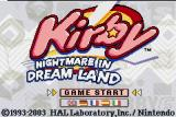 Kirby: Nightmare in Dreamland Game Boy Advance Title Screen