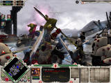Warhammer 40,000: Dawn of War - Winter Assault Windows Eldar Seers fight a Chaos Sorcerer, another close combat specialist.