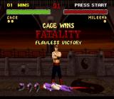 "Mortal Kombat II SNES After knocked off Mileena's 3 heads (?!?), Johnny Cage shows to her who is the ""main star""!"