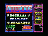 Afteroids MSX Credits screen