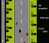 Road Fighter NES Oil makes the road slippery