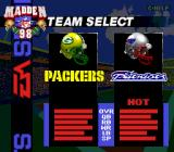 Madden NFL 98 Genesis Choose the teams
