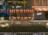 "Metal Slug 4 Neo Geo After landing of a enforced helicopter ""guided"" by Eri, Fio starts Mission 1 shooting in a car."