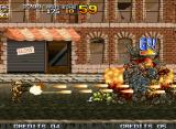 Metal Slug 4 Neo Geo The first enemy squad was eliminated thanks to a new introduced arm, the Dual Machine Gun.