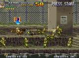 Metal Slug 4 Neo Geo If your soldier is hit by a scientist's shot, he/she will morph into a Orangutan-style-monkey!