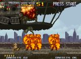 Metal Slug 4 Neo Geo With the first boss defeated, Fio gives a deep sigh and observes the result of her good work...