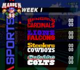 Madden NFL 98 Genesis The full schedule
