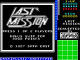 Last Mission ZX Spectrum Title screen