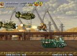 Metal Slug 4 Neo Geo Under double enemy fire, Marco (taking a ride in the Truck) strikes back with his Heavy Machine Gun.