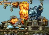 Metal Slug 4 Neo Geo Clear Mission 2 destroying the Gun Tower (divided in 5 segments and guided by the bearded soldier).