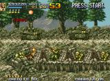 Metal Slug 4 Neo Geo Marco plans a strategy: the enemy front squad are now equipped with barricades and rocket launchers!