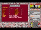 Cobra Mission DOS Character status screen