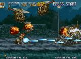 Metal Slug 4 Neo Geo The action takes place now with Nadia riding the Four Legged Walkmachine and finishing more enemies.