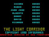 The Light Corridor ZX Spectrum High scores
