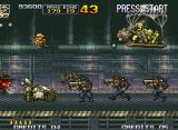 Metal Slug 4 Neo Geo Surrounded by some Morden androids and two soldiers attacking in the air, Fio jumps off Metal Slug.