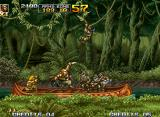 Metal Slug 5 Neo Geo Mission 1: transported by a guided raft, Marco quickly stabs the first enemy soldier in his front!