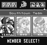 King of Fighters R-1 Neo Geo Pocket Selecting a team.