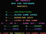 Maziacs MSX Options screen