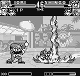 King of Fighters R-1 Neo Geo Pocket Iori takes advantage of Shingo's defenseless moment and does his DM Ya Sakazuki, paralyzing him.