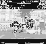 King of Fighters R-1 Neo Geo Pocket Kim Kaphwan shows a lot of Tae Kwon Do skills to Shermie, starting by his anti-air move Kuu Sa Jin.