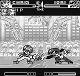 King of Fighters R-1 Neo Geo Pocket Chris does his Slide Touch in Orochi Iori, that counter-attacks simultaneously with his fast punch.